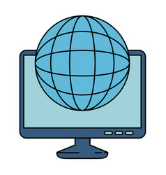 monitor computer with planet vector image