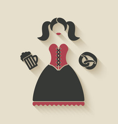 Oktoberfest girl with beer mug and pretzel vector image