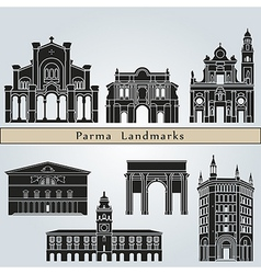 Parma landmarks and monuments vector