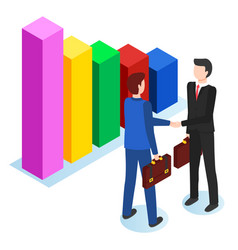 partners on meeting businessmen and infochart vector image