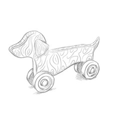 pencil draw dog toy vector image