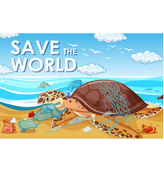 Pollution control scene with sea turtle and vector