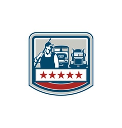 Power Washer Worker Truck Train Crest Retro vector