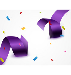 purple ribbon with confetti vector image