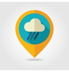 Rain Cloud flat pin map icon Downpour rainfall vector image