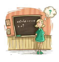 Schoolgirl at lesson in school vector