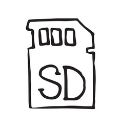 Sd card for external memory hand drawn outline vector