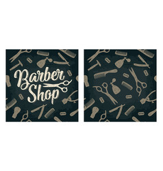 Seamless pattern set tool for barbershop with vector