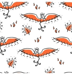 Seamless pattern with phoenix and feathers vector