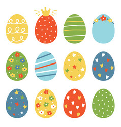 set collection of colorful easter eggs vector image