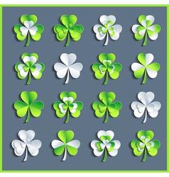 set grey and green 3d patricks leaf clover vector image