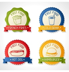 Set of badges with burger hot dog french-fry and vector