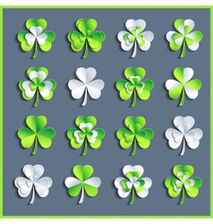 Set of grey and green 3d Patricks leaf clover vector image