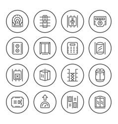 set round line icons of elevator vector image