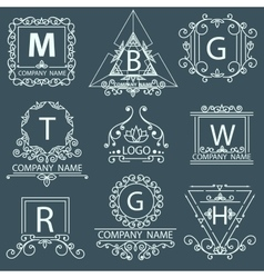 Set victorian logos ornamental corporate style vector image