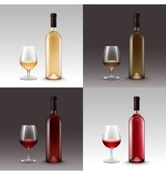 set wine bottles and glasses on background vector image