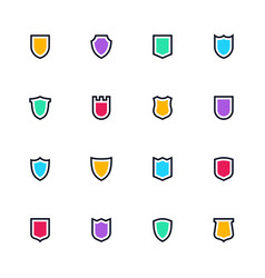 sheild icon set simple flat symbols guard vector image
