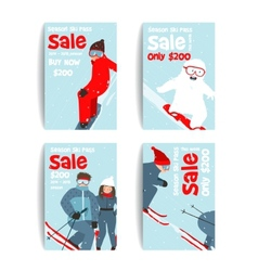Skier and Snowboarder Fun Winter Sport Flyer vector image