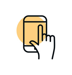 smartphone hand clicking shopping line style dot vector image