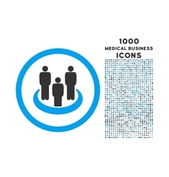Social Group Rounded Icon with 1000 Bonus Icons vector image