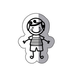 Sticker sketch silhouette caricature boy with vector