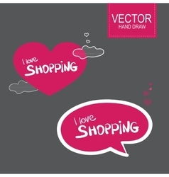 Stiker set I love shopping vector image