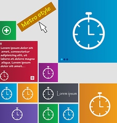 Stopwatch icon sign buttons Modern interface vector image