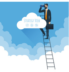 strategy view and ladders to clouds vector image