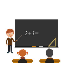students look at board and listen to the vector image