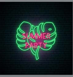 Summer party neon signboard bright neon monstera vector