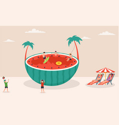 summertime holiday scene huge watermelon surfing vector image