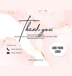 Thank you card watercolor pink gold customer vector