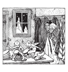 the elves and the shoemaker vintage vector image