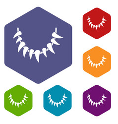 Tooth necklace icons hexahedron vector
