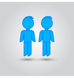 Two male stick figures standing beside each other vector