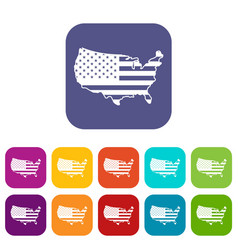 usa map icons set vector image