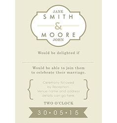 Wedding invitation gold ribbon theme vector image vector image