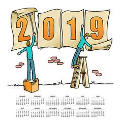 whimsical drawing 2019 calendar vector image