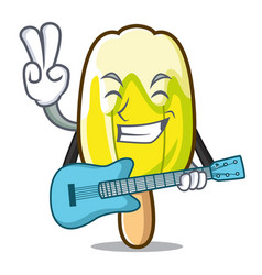 With guitar lemon ice cream mascot cartoon vector