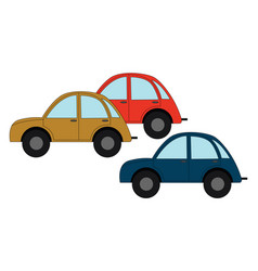yellow red and bluie car on white background vector image