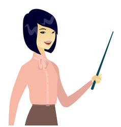 Young asian business woman with a pointer vector