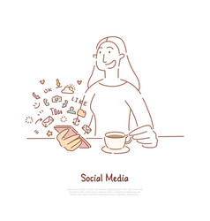 young woman drink tea and chatting hot beverage vector image