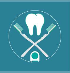 brush teeth flat design vector image vector image