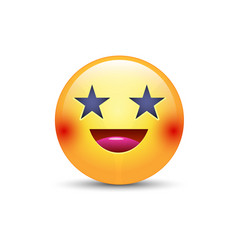 happy laughing emoji face with eyes in the form of vector image vector image