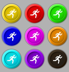 running man icon sign symbol on nine round vector image vector image