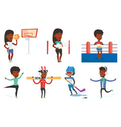 set of sport characters vector image vector image