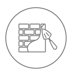 Spatula with brickwall line icon vector image vector image