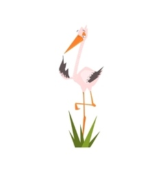 Stork Standing On One Leg Flat Cartoon vector image vector image