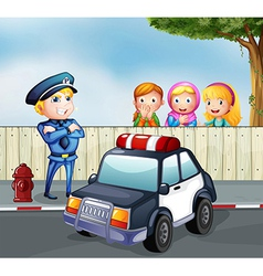 A policeman and the three girls outside the fence vector image vector image