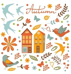 Autumn set with birds flowers and leaves vector image